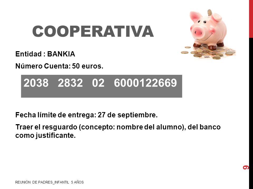 COOPERATIVA Entidad : BANKIA Número Cuenta: 50 euros. Fecha límite de entrega: 27 de septiembre. Traer el resguardo (concepto: nombre del alumno), del