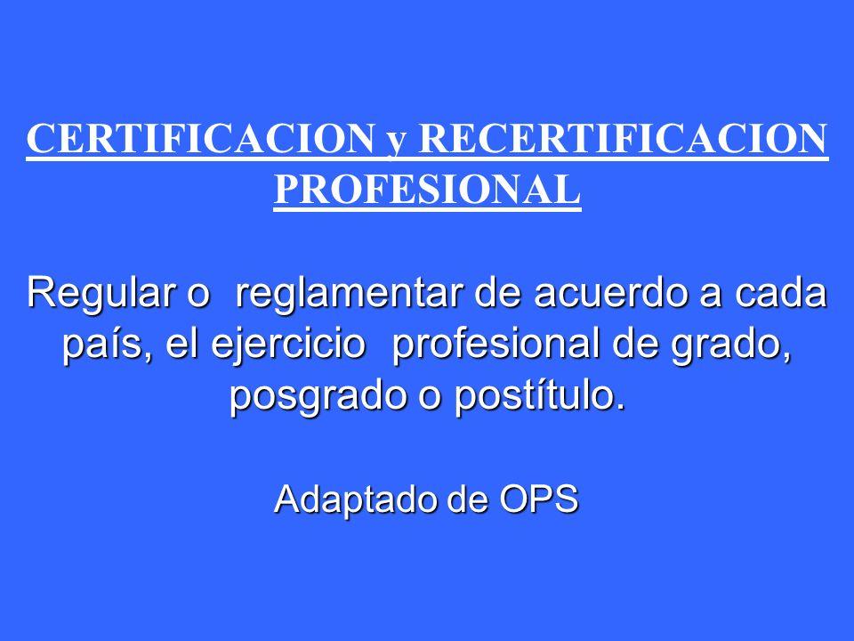 CERTIFICACION y RECERTIFICACION PROFESIONAL Regular o reglamentar de acuerdo a cada país, el ejercicio profesional de grado, posgrado o postítulo.