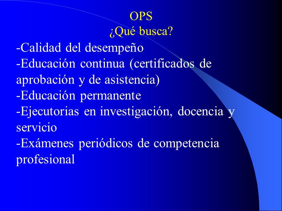 -Calidad del desempeño -Educación continua (certificados de aprobación y de asistencia) -Educación permanente -Ejecutorias en investigación, docencia y servicio -Exámenes periódicos de competencia profesional OPS ¿Qué busca?