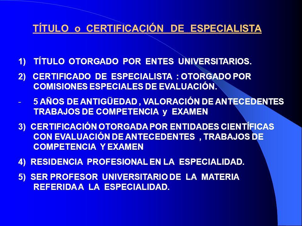 TÍTULO o CERTIFICACIÓN DE ESPECIALISTA 1)TÍTULO OTORGADO POR ENTES UNIVERSITARIOS.