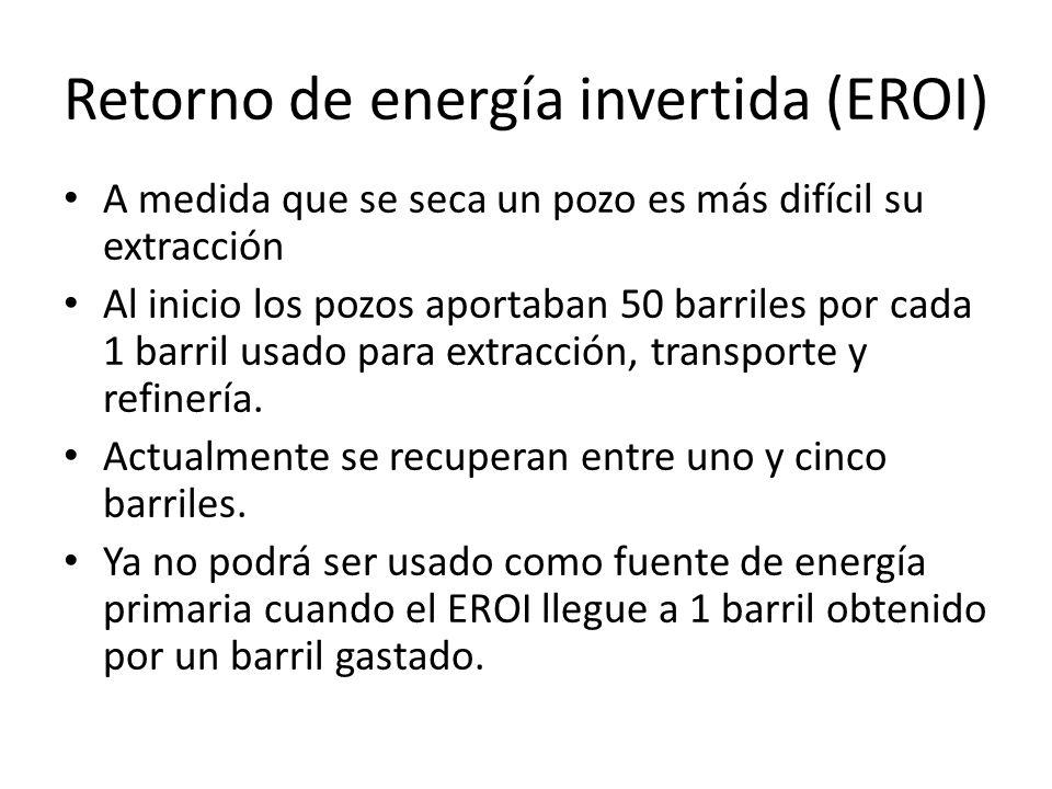 Retorno de energía invertida (EROI) A medida que se seca un pozo es más difícil su extracción Al inicio los pozos aportaban 50 barriles por cada 1 barril usado para extracción, transporte y refinería.
