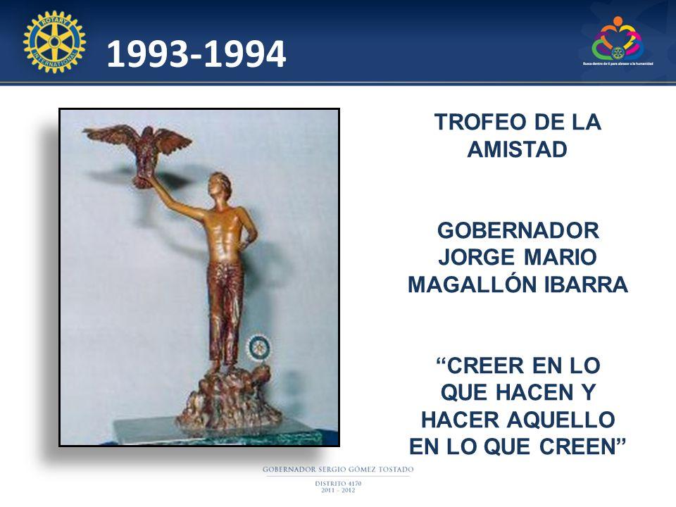 1993-1994 TROFEO DE LA AMISTAD GOBERNADOR JORGE MARIO MAGALLÓN IBARRA CREER EN LO QUE HACEN Y HACER AQUELLO EN LO QUE CREEN