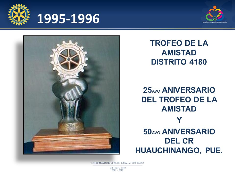 1995-1996 TROFEO DE LA AMISTAD DISTRITO 4180 25 AVO ANIVERSARIO DEL TROFEO DE LA AMISTAD Y 50 AVO ANIVERSARIO DEL CR HUAUCHINANGO, PUE.