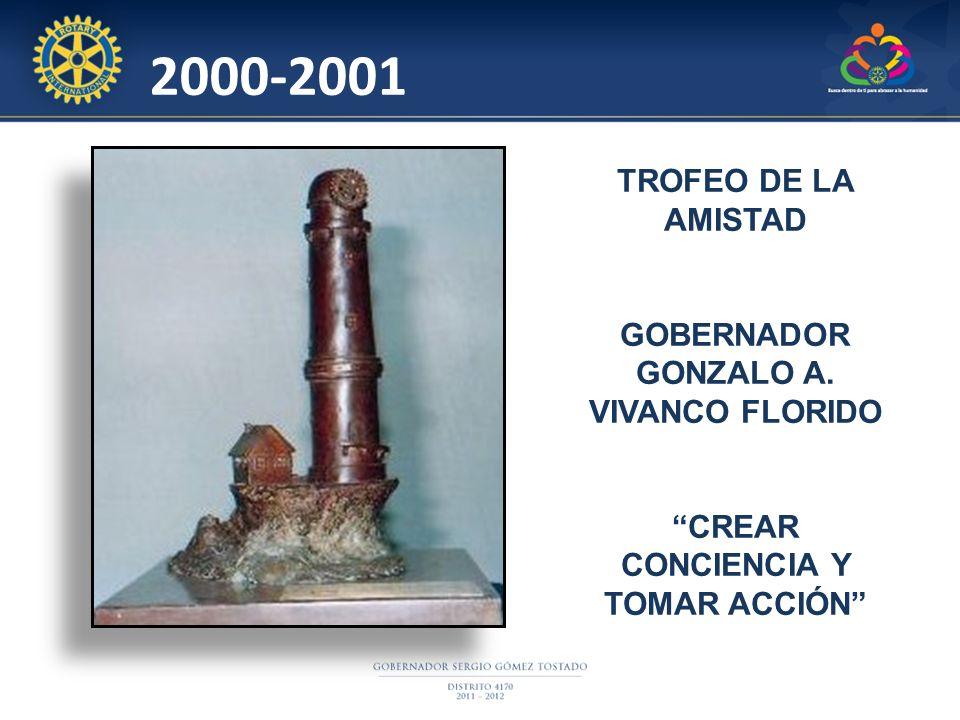 2000-2001 TROFEO DE LA AMISTAD GOBERNADOR GONZALO A. VIVANCO FLORIDO CREAR CONCIENCIA Y TOMAR ACCIÓN
