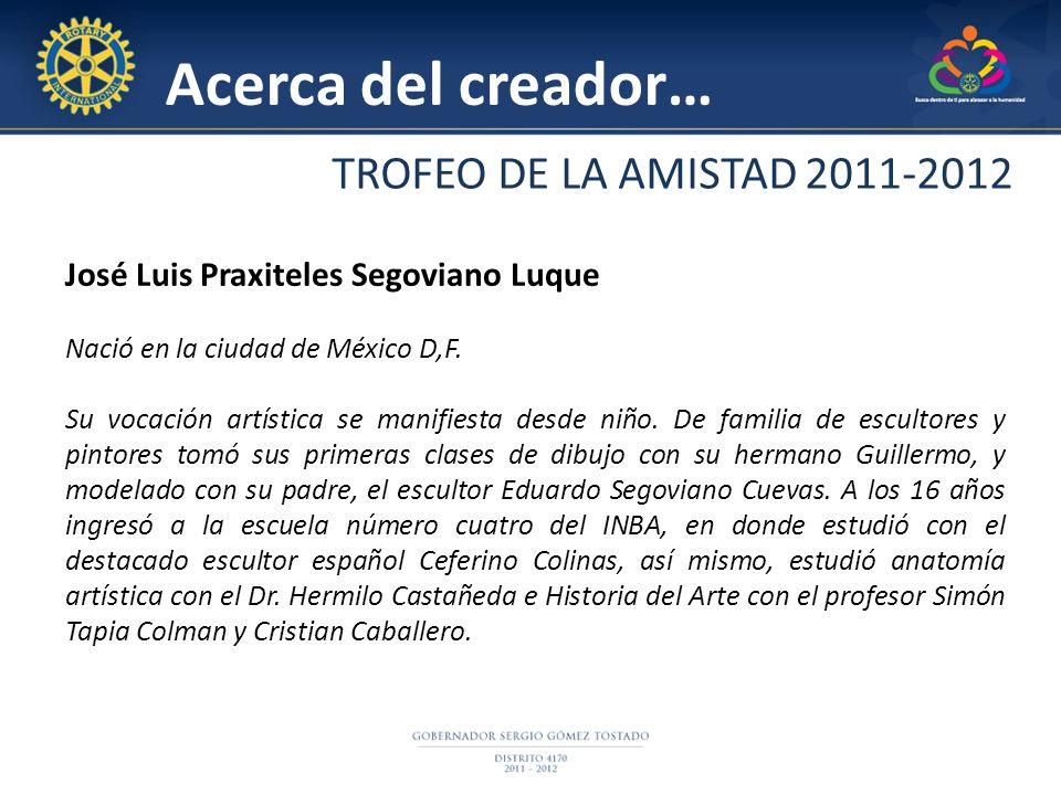 Acerca del creador… José Luis Praxiteles Segoviano Luque Nació en la ciudad de México D,F. Su vocación artística se manifiesta desde niño. De familia