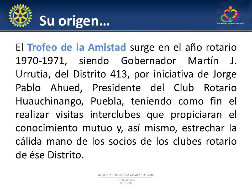 Su origen… El Trofeo de la Amistad surge en el año rotario 1970-1971, siendo Gobernador Martín J. Urrutia, del Distrito 413, por iniciativa de Jorge P