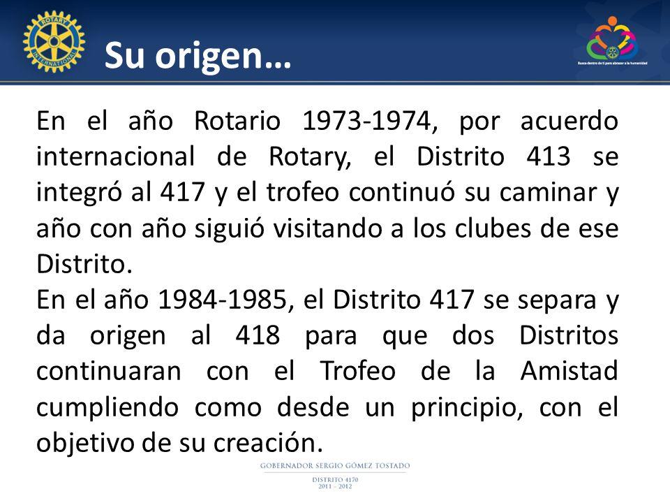 En el año Rotario 1973-1974, por acuerdo internacional de Rotary, el Distrito 413 se integró al 417 y el trofeo continuó su caminar y año con año siguió visitando a los clubes de ese Distrito.