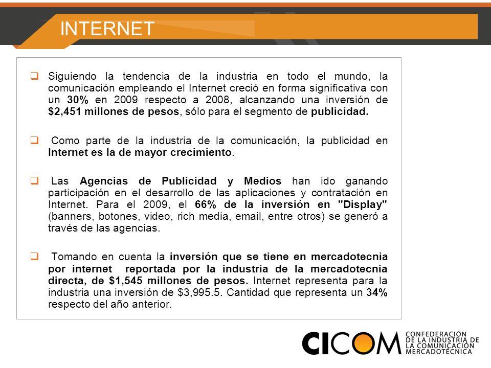 INTERNET Siguiendo la tendencia de la industria en todo el mundo, la comunicación empleando el Internet creció en forma significativa con un 30% en 2009 respecto a 2008, alcanzando una inversión de $2,451 millones de pesos, sólo para el segmento de publicidad.