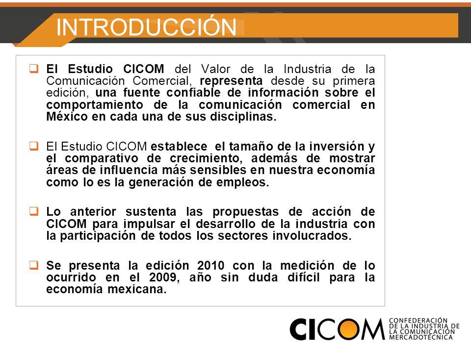 INTRODUCCIÓN El Estudio CICOM del Valor de la Industria de la Comunicación Comercial, representa desde su primera edición, una fuente confiable de información sobre el comportamiento de la comunicación comercial en México en cada una de sus disciplinas.
