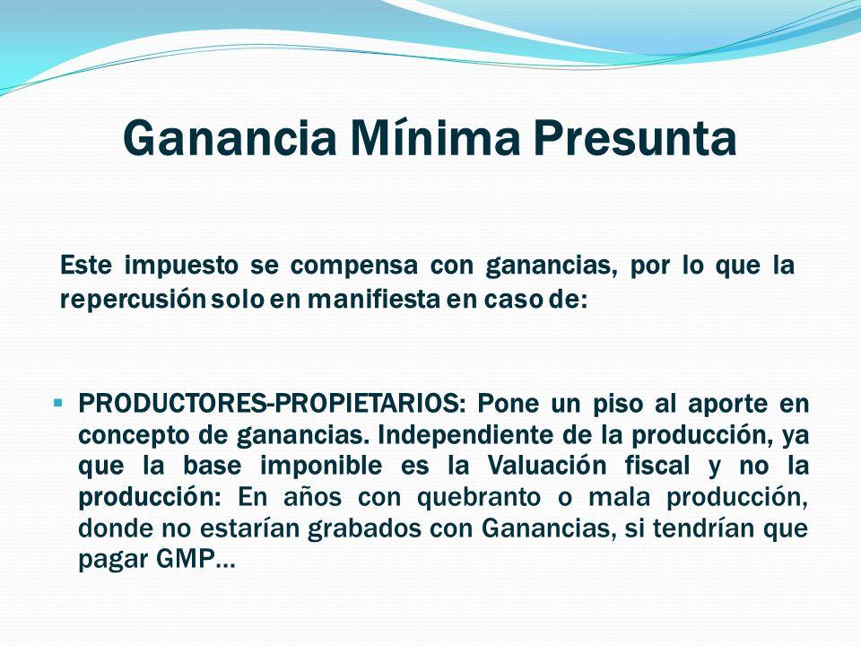 Ganancia Mínima Presunta PRODUCTORES-PROPIETARIOS: Pone un piso al aporte en concepto de ganancias.