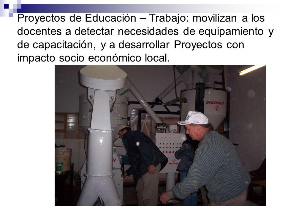 Proyectos de Educación – Trabajo: movilizan a los docentes a detectar necesidades de equipamiento y de capacitación, y a desarrollar Proyectos con imp