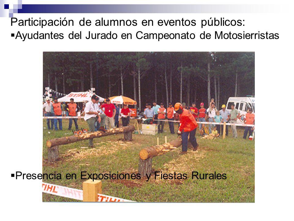 Participación de alumnos en eventos públicos: Ayudantes del Jurado en Campeonato de Motosierristas Presencia en Exposiciones y Fiestas Rurales