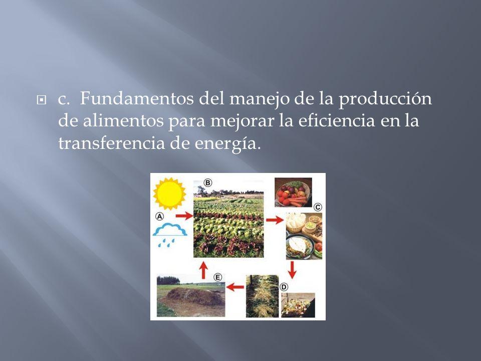 c. Fundamentos del manejo de la producción de alimentos para mejorar la eficiencia en la transferencia de energía.