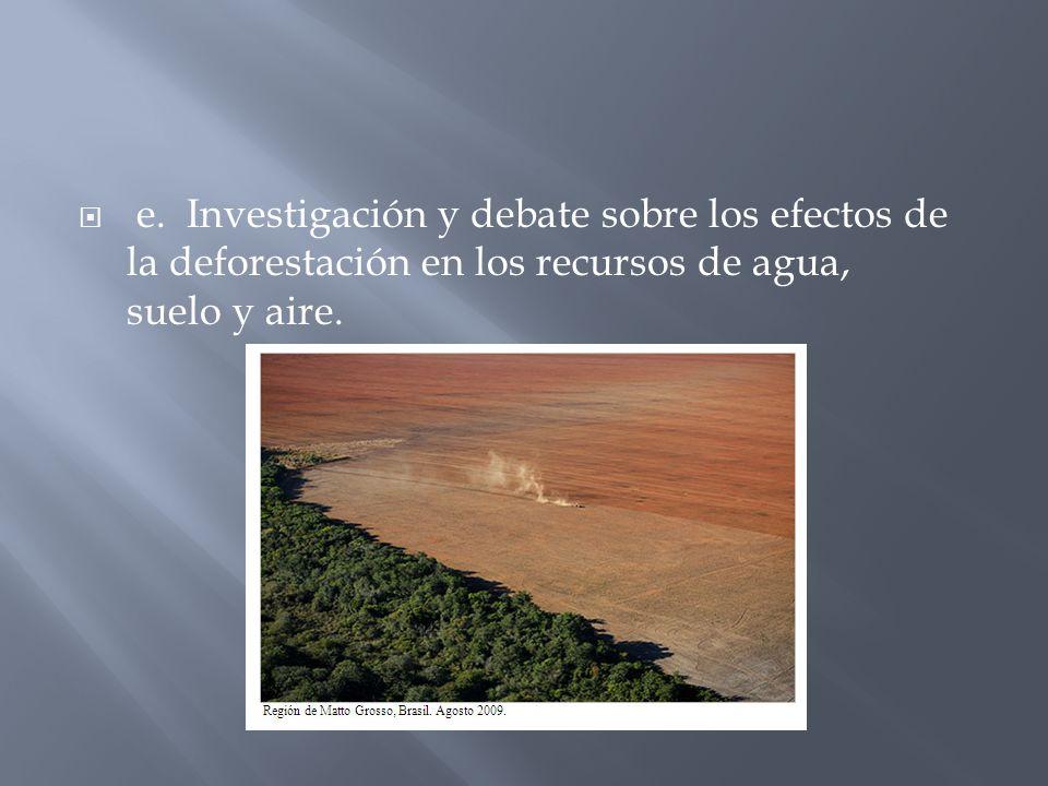 e. Investigación y debate sobre los efectos de la deforestación en los recursos de agua, suelo y aire.