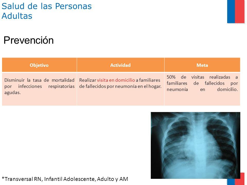 Salud de las Personas Adultas ObjetivoActividadMeta Disminuir la tasa de mortalidad por infecciones respiratorias agudas. Realizar visita en domicilio