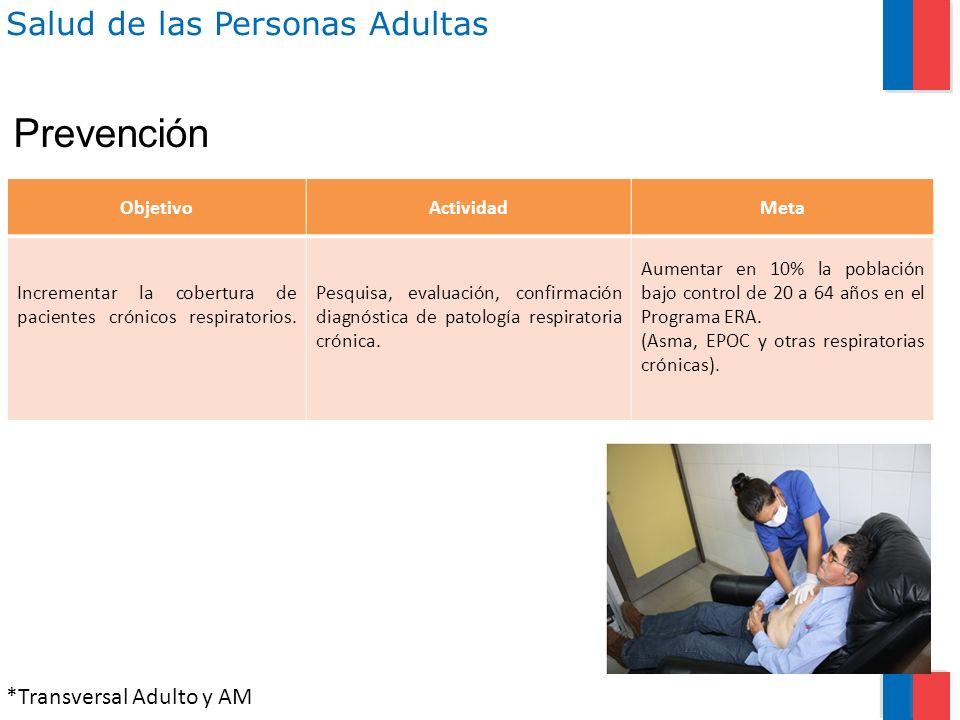 Salud de las Personas Adultas ObjetivoActividadMeta Incrementar la cobertura de pacientes crónicos respiratorios. Pesquisa, evaluación, confirmación d