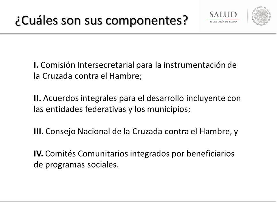 I. Comisión Intersecretarial para la instrumentación de la Cruzada contra el Hambre; II. Acuerdos integrales para el desarrollo incluyente con las ent