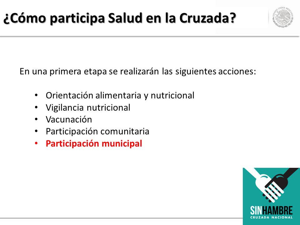 En una primera etapa se realizarán las siguientes acciones: Orientación alimentaria y nutricional Vigilancia nutricional Vacunación Participación comu