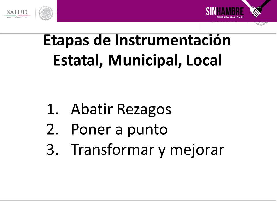 1.Abatir Rezagos 2.Poner a punto 3.Transformar y mejorar Etapas de Instrumentación Estatal, Municipal, Local