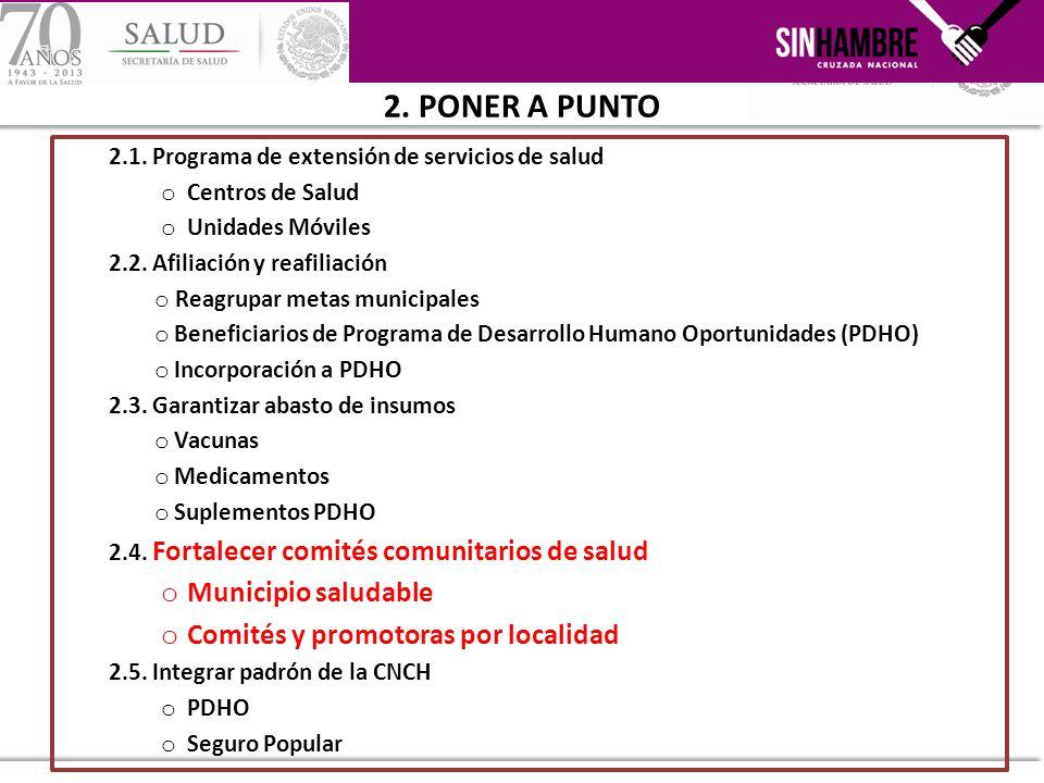 2.1. Programa de extensión de servicios de salud o Centros de Salud o Unidades Móviles 2.2. Afiliación y reafiliación o Reagrupar metas municipales o