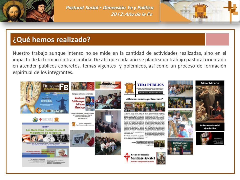 Pastoral Social Dimensión Fe y Política 2012: Año de la Fe ¿Qué hemos realizado? Nuestro trabajo aunque intenso no se mide en la cantidad de actividad