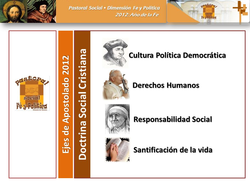 Pastoral Social Dimensión Fe y Política 2012: Año de la Fe Ejes de Apostolado 2012 Doctrina Social Cristiana Cultura Política Democrática Derechos Humanos Responsabilidad Social Santificación de la vida