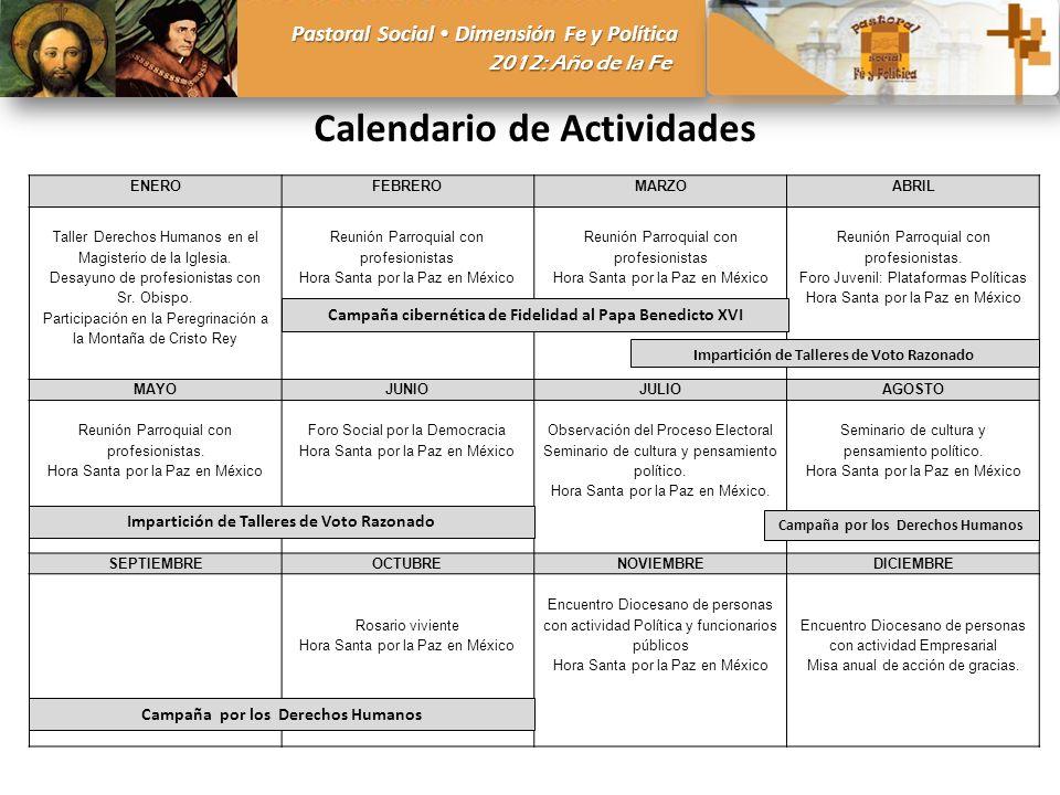 Pastoral Social Dimensión Fe y Política 2012: Año de la Fe Calendario de Actividades ENEROFEBREROMARZOABRIL Taller Derechos Humanos en el Magisterio d
