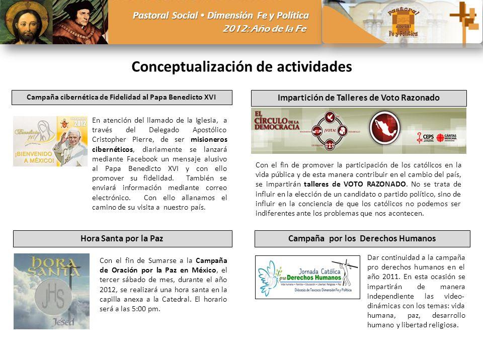 Pastoral Social Dimensión Fe y Política 2012: Año de la Fe Conceptualización de actividades Campaña cibernética de Fidelidad al Papa Benedicto XVI En