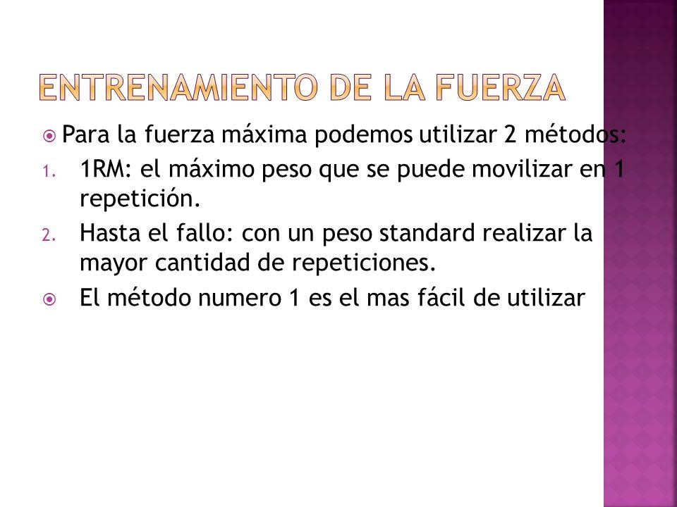 Para la fuerza máxima podemos utilizar 2 métodos: 1. 1RM: el máximo peso que se puede movilizar en 1 repetición. 2. Hasta el fallo: con un peso standa