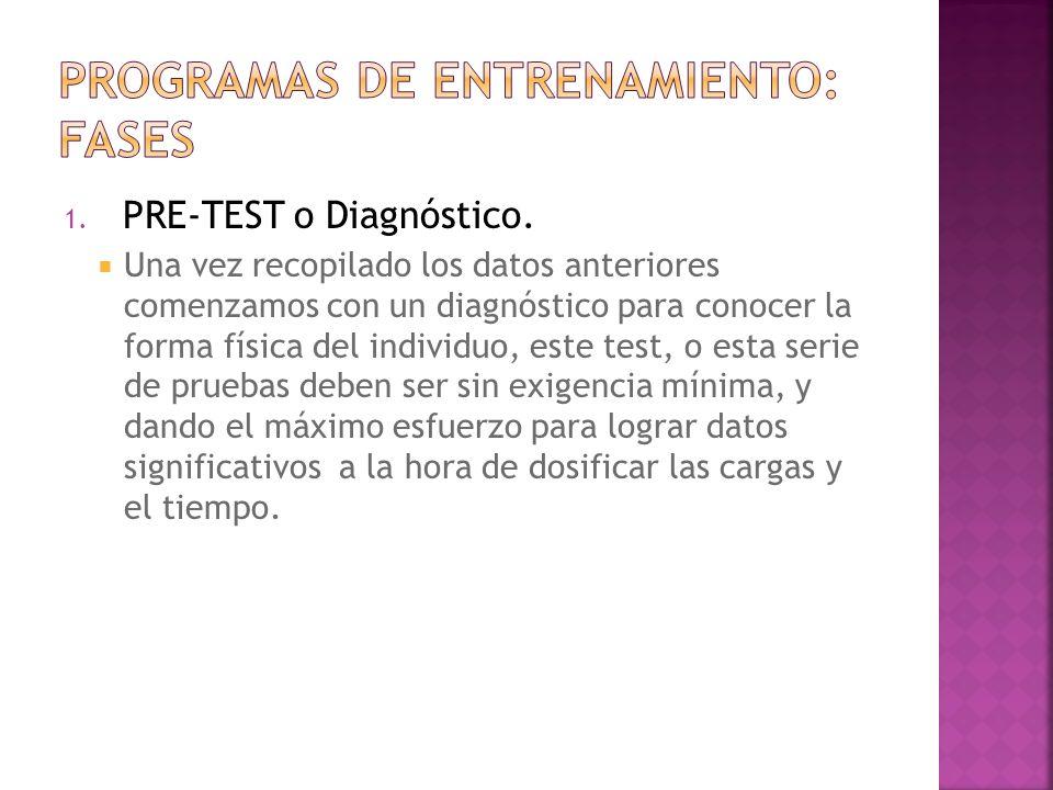1. PRE-TEST o Diagnóstico. Una vez recopilado los datos anteriores comenzamos con un diagnóstico para conocer la forma física del individuo, este test