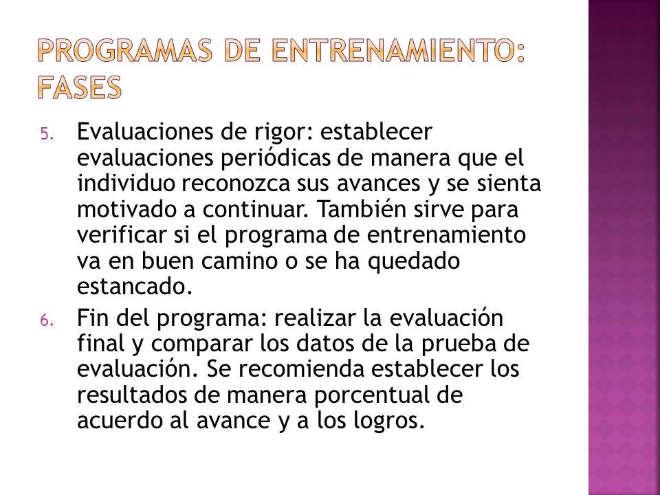 5. Evaluaciones de rigor: establecer evaluaciones periódicas de manera que el individuo reconozca sus avances y se sienta motivado a continuar. Tambié