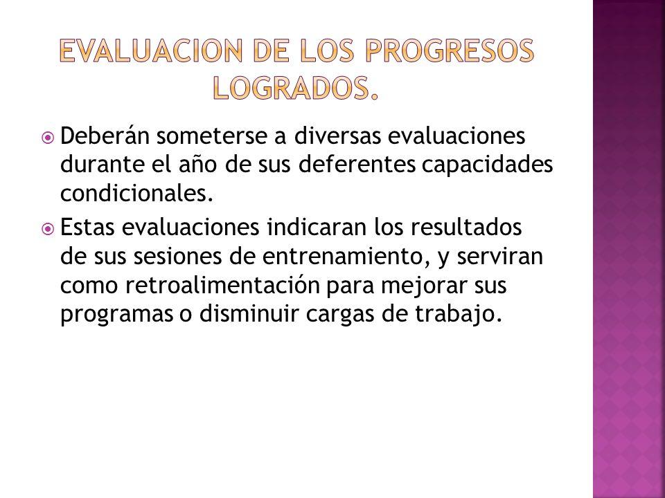 Deberán someterse a diversas evaluaciones durante el año de sus deferentes capacidades condicionales.