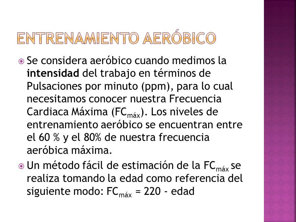 Se considera aeróbico cuando medimos la intensidad del trabajo en términos de Pulsaciones por minuto (ppm), para lo cual necesitamos conocer nuestra Frecuencia Cardiaca Máxima (FC máx ).
