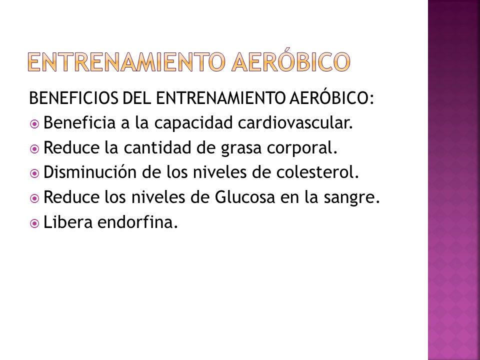 BENEFICIOS DEL ENTRENAMIENTO AERÓBICO: Beneficia a la capacidad cardiovascular. Reduce la cantidad de grasa corporal. Disminución de los niveles de co