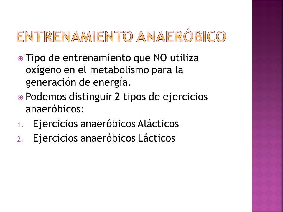 Tipo de entrenamiento que NO utiliza oxígeno en el metabolismo para la generación de energía. Podemos distinguir 2 tipos de ejercicios anaeróbicos: 1.