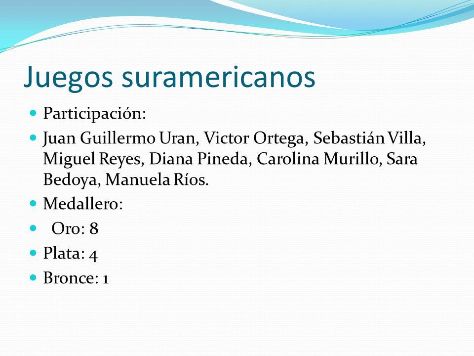 Juegos suramericanos Participación: Juan Guillermo Uran, Victor Ortega, Sebastián Villa, Miguel Reyes, Diana Pineda, Carolina Murillo, Sara Bedoya, Manuela Ríos.