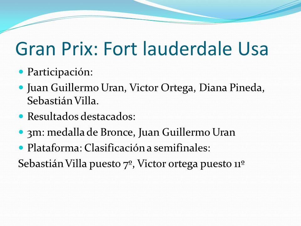 Gran Prix: Fort lauderdale Usa Participación: Juan Guillermo Uran, Victor Ortega, Diana Pineda, Sebastián Villa.