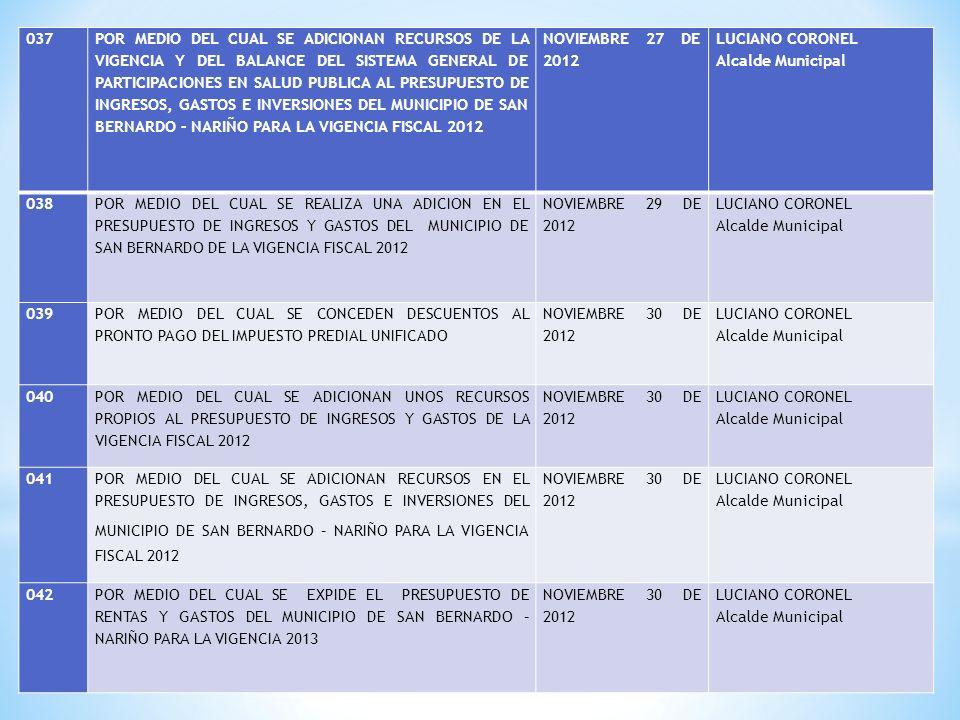 037 POR MEDIO DEL CUAL SE ADICIONAN RECURSOS DE LA VIGENCIA Y DEL BALANCE DEL SISTEMA GENERAL DE PARTICIPACIONES EN SALUD PUBLICA AL PRESUPUESTO DE INGRESOS, GASTOS E INVERSIONES DEL MUNICIPIO DE SAN BERNARDO – NARIÑO PARA LA VIGENCIA FISCAL 2012 NOVIEMBRE 27 DE 2012 LUCIANO CORONEL Alcalde Municipal 038 POR MEDIO DEL CUAL SE REALIZA UNA ADICION EN EL PRESUPUESTO DE INGRESOS Y GASTOS DEL MUNICIPIO DE SAN BERNARDO DE LA VIGENCIA FISCAL 2012 NOVIEMBRE 29 DE 2012 LUCIANO CORONEL Alcalde Municipal 039 POR MEDIO DEL CUAL SE CONCEDEN DESCUENTOS AL PRONTO PAGO DEL IMPUESTO PREDIAL UNIFICADO NOVIEMBRE 30 DE 2012 LUCIANO CORONEL Alcalde Municipal 040 POR MEDIO DEL CUAL SE ADICIONAN UNOS RECURSOS PROPIOS AL PRESUPUESTO DE INGRESOS Y GASTOS DE LA VIGENCIA FISCAL 2012 NOVIEMBRE 30 DE 2012 LUCIANO CORONEL Alcalde Municipal 041 POR MEDIO DEL CUAL SE ADICIONAN RECURSOS EN EL PRESUPUESTO DE INGRESOS, GASTOS E INVERSIONES DEL MUNICIPIO DE SAN BERNARDO – NARIÑO PARA LA VIGENCIA FISCAL 2012 NOVIEMBRE 30 DE 2012 LUCIANO CORONEL Alcalde Municipal 042POR MEDIO DEL CUAL SE EXPIDE EL PRESUPUESTO DE RENTAS Y GASTOS DEL MUNICIPIO DE SAN BERNARDO – NARIÑO PARA LA VIGENCIA 2013 NOVIEMBRE 30 DE 2012 LUCIANO CORONEL Alcalde Municipal