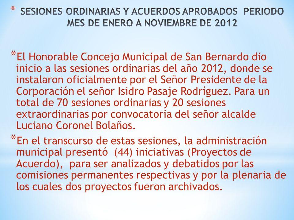 * El Honorable Concejo Municipal de San Bernardo dio inicio a las sesiones ordinarias del año 2012, donde se instalaron oficialmente por el Señor Presidente de la Corporación el señor Isidro Pasaje Rodríguez.