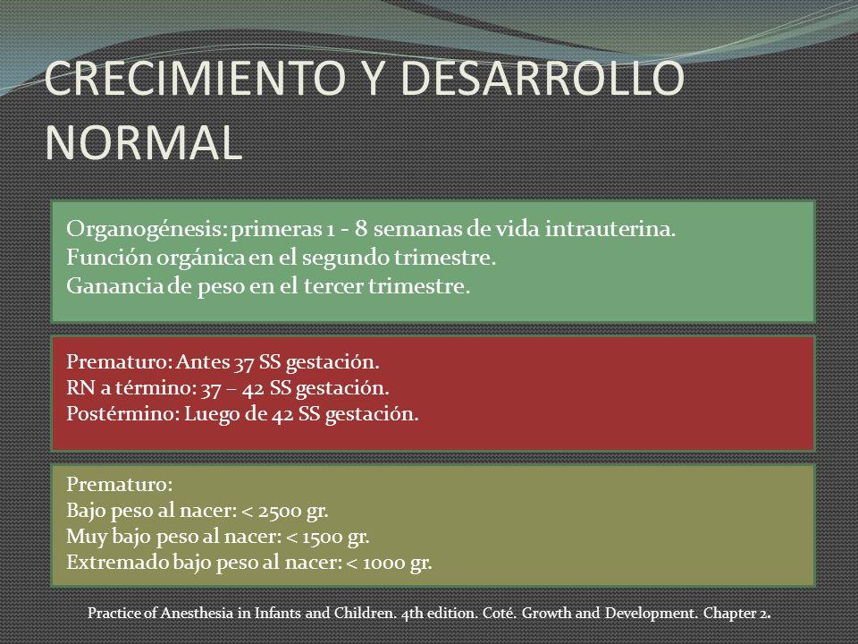 CRECIMIENTO Y DESARROLLO NORMAL Organogénesis: primeras 1 - 8 semanas de vida intrauterina. Función orgánica en el segundo trimestre. Ganancia de peso
