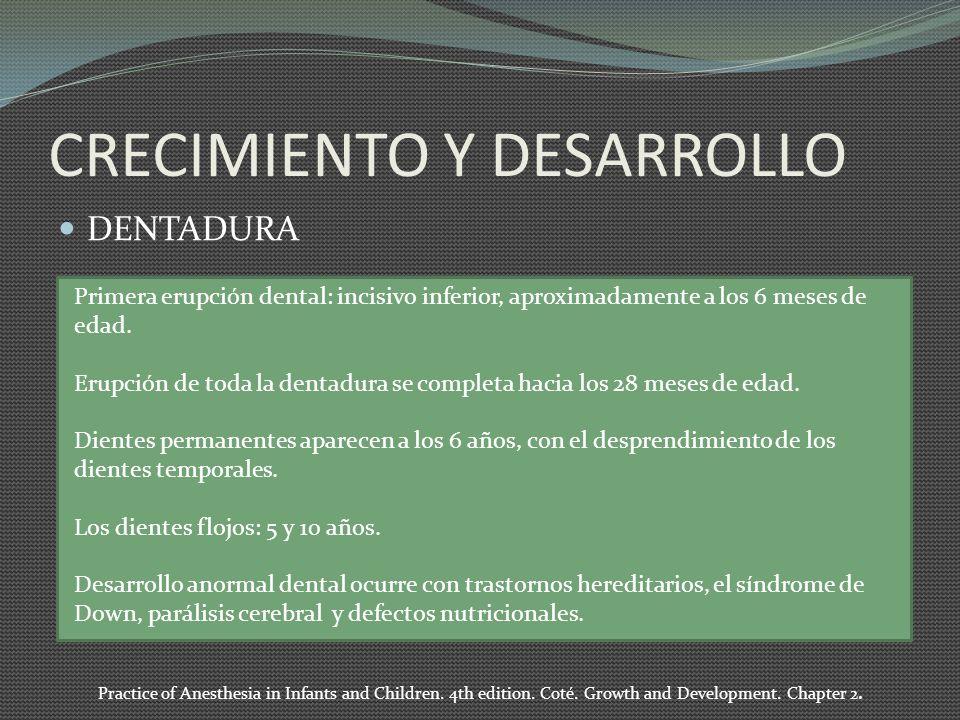 CRECIMIENTO Y DESARROLLO DENTADURA Primera erupción dental: incisivo inferior, aproximadamente a los 6 meses de edad. Erupción de toda la dentadura se