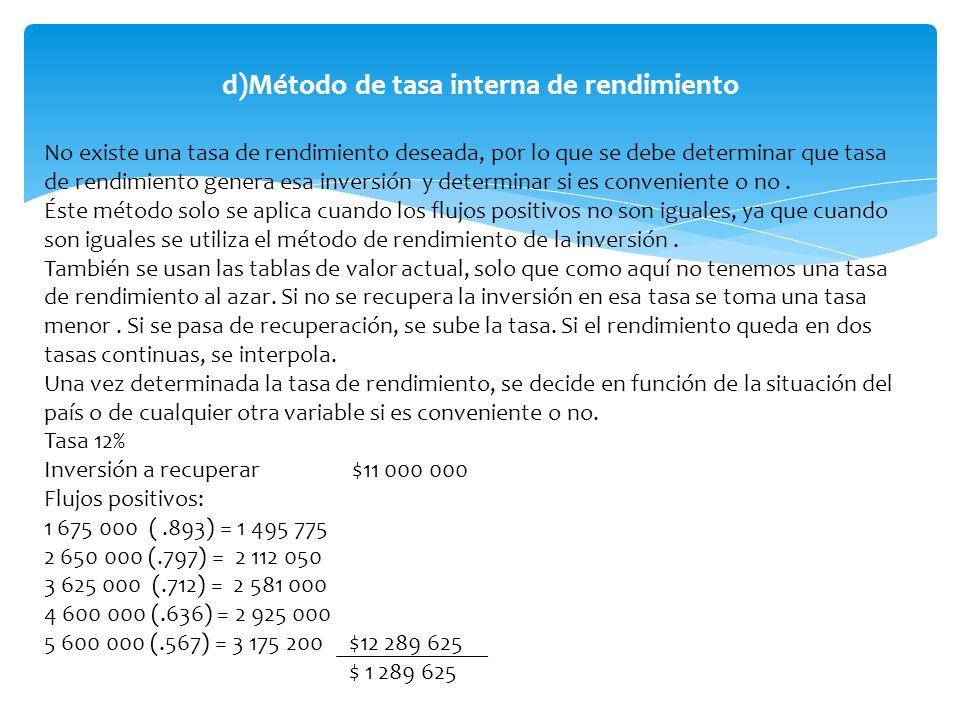 d)Método de tasa interna de rendimiento No existe una tasa de rendimiento deseada, p0r lo que se debe determinar que tasa de rendimiento genera esa in