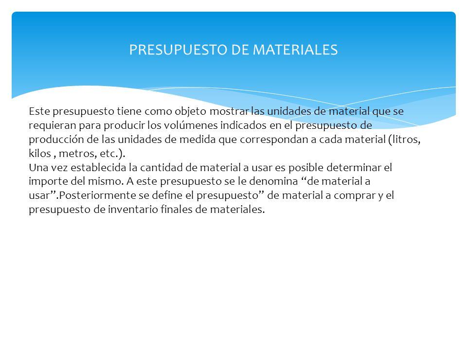 PRESUPUESTO DE MATERIALES Este presupuesto tiene como objeto mostrar las unidades de material que se requieran para producir los volúmenes indicados e