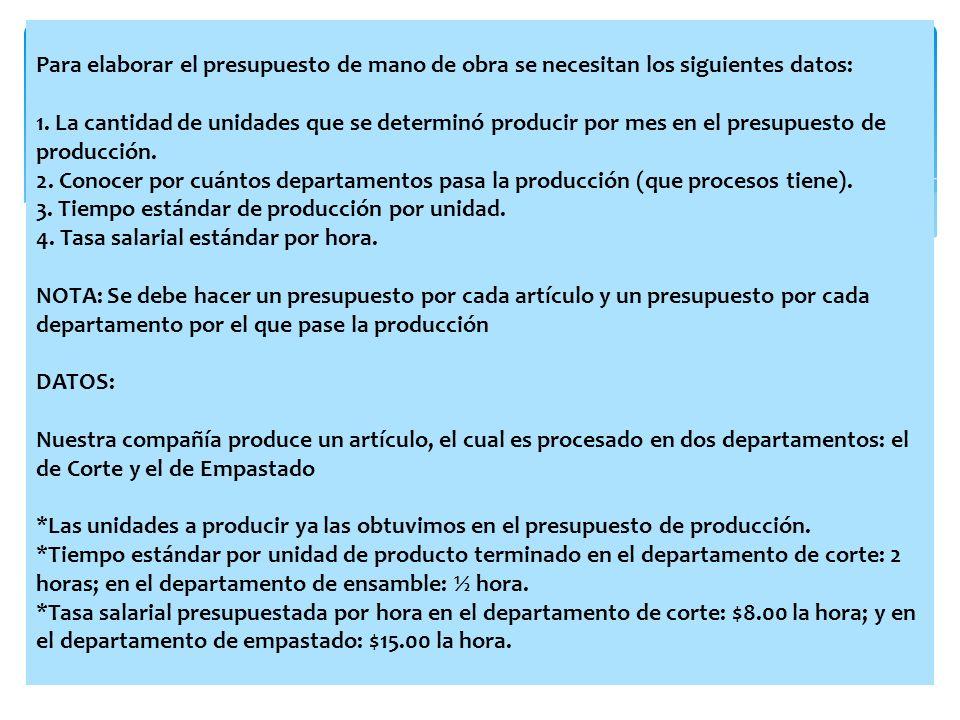 Para elaborar el presupuesto de mano de obra se necesitan los siguientes datos: 1. La cantidad de unidades que se determinó producir por mes en el pre