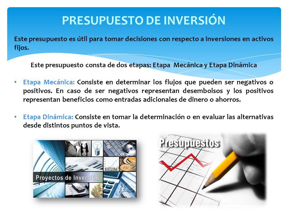 Este presupuesto es útil para tomar decisiones con respecto a inversiones en activos fijos. Este presupuesto consta de dos etapas: Etapa Mecánica y Et