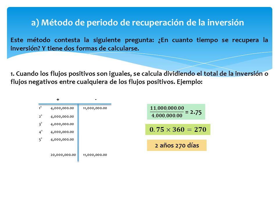 a) Método de periodo de recuperación de la inversión Este método contesta la siguiente pregunta: ¿En cuanto tiempo se recupera la inversión? Y tiene d