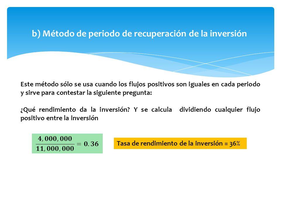 b) Método de periodo de recuperación de la inversión Este método sólo se usa cuando los flujos positivos son iguales en cada periodo y sirve para cont