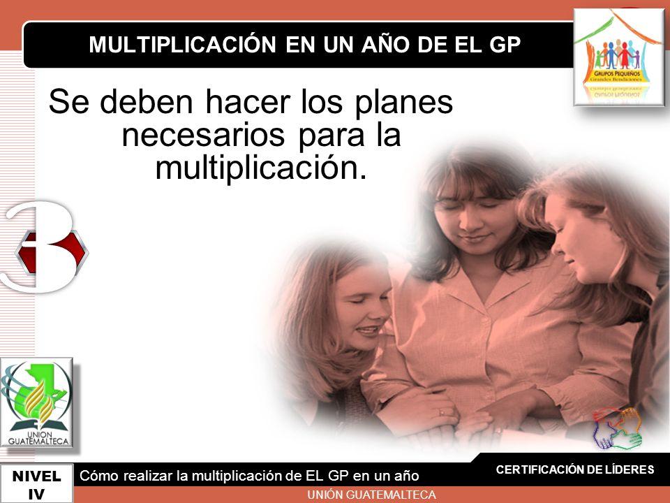 LOGO Se deben hacer los planes necesarios para la multiplicación. CERTIFICACIÓN DE LÍDERES NIVEL IV MULTIPLICACIÓN EN UN AÑO DE EL GP Cómo realizar la