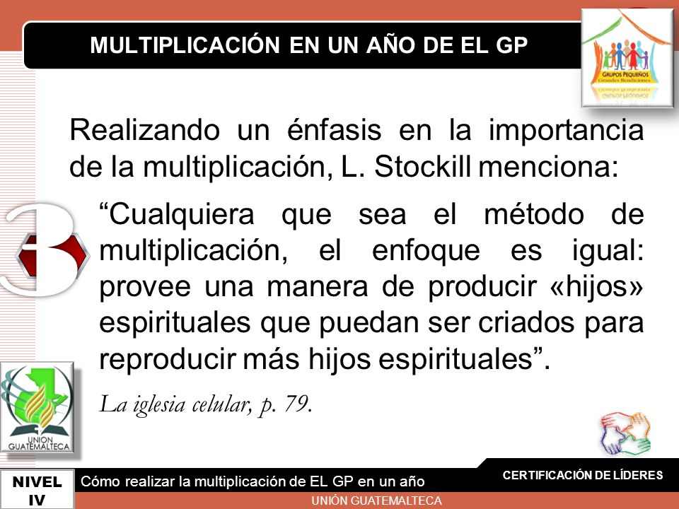 LOGO CERTIFICACIÓN DE LÍDERES NIVEL IV MULTIPLICACIÓN EN UN AÑO DE EL GP Cómo realizar la multiplicación de EL GP en un año UNIÓN GUATEMALTECA Realiza