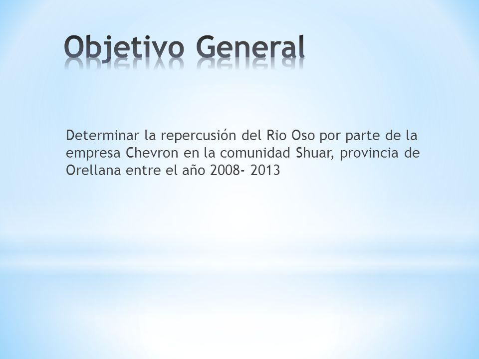 Determinar la repercusión del Rio Oso por parte de la empresa Chevron en la comunidad Shuar, provincia de Orellana entre el año 2008- 2013